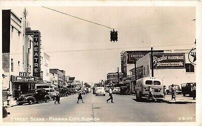 c.1940 RPPC Cars Stores Movie Theatre Panama City FL Texaco Sign Cline (Panama City Stores)