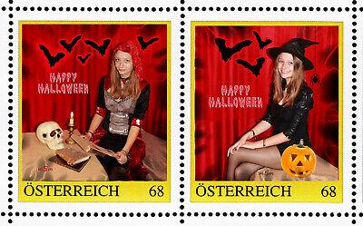 A) Personalisierte Briefmarken Paar 8120855 Halloween 2016 u Postkarten - Halloween Paar