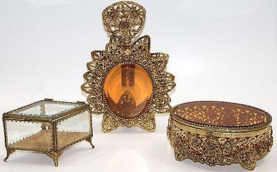 Lot of 3 Vintage Stylebuilt Matson 24k Gold Ormolu Perfume Bottle Jewelry Boxes