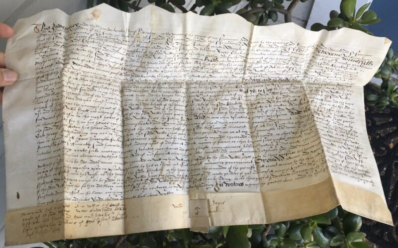 1616 Indenture on Vellum WILLIAM JEYES, Twywell & THOMAS CATON Marriage 17th C.