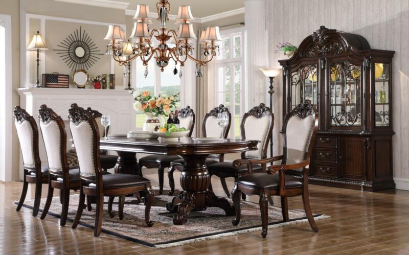 Mcferran D3600 Traditional Cherry Finish Pu & Linen Chairs Dining Table Set 7pcs