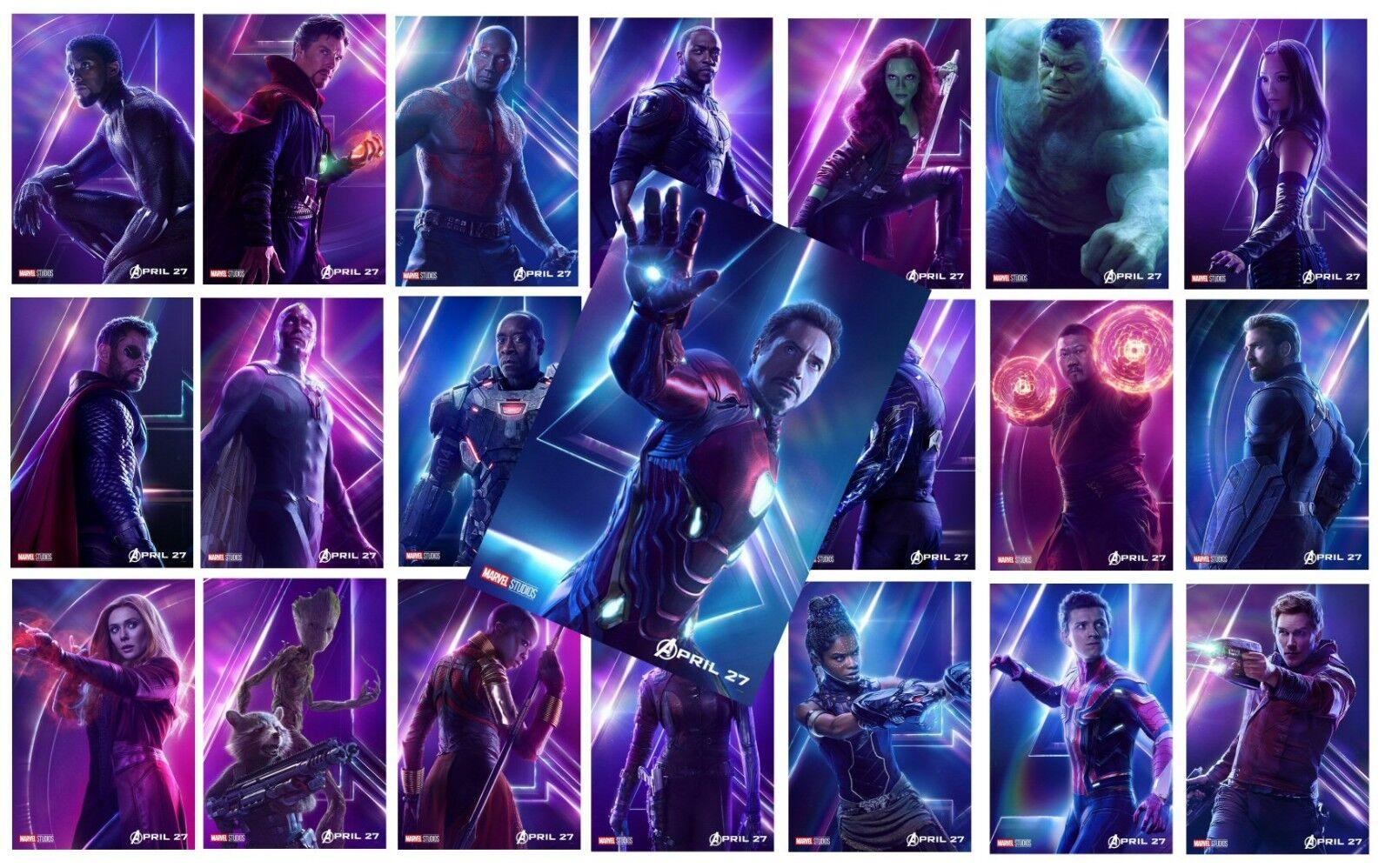 AVENGERS: INFINITY WAR Character Poster Hulk Iron Man Captain America A5 A4 A3