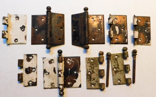 Antique Vintage Heavy Door Hinges Pins Copper Chippy Paint Lot