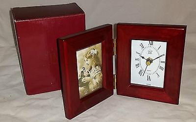 """Jordan Mark Mahogany Finish Wood Photo/Clock Box for 2.5"""" X 3.5"""" Photos"""