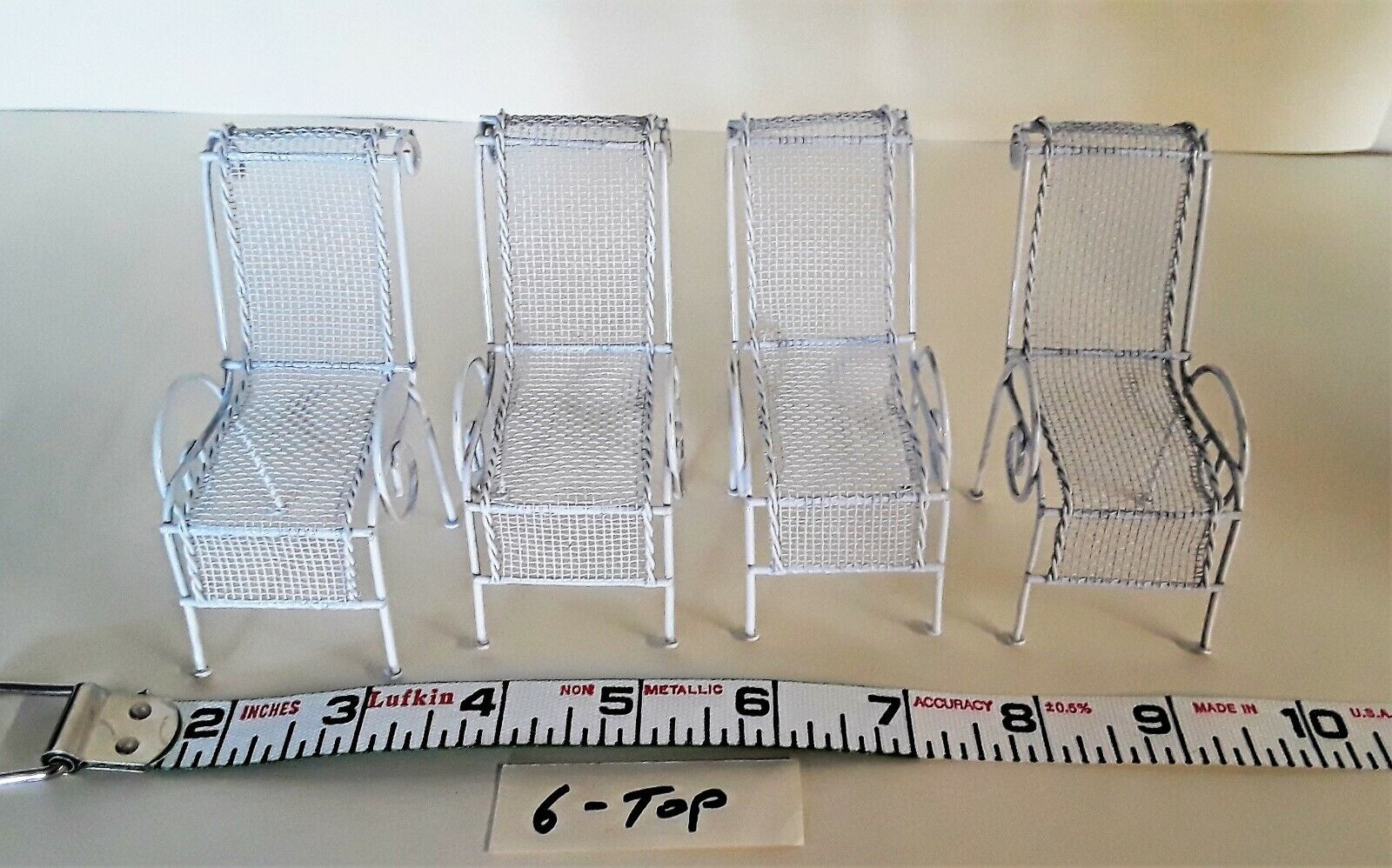 Set of 4- Fairy Garden/ Doll House Metal Patio/ Lounge Chair