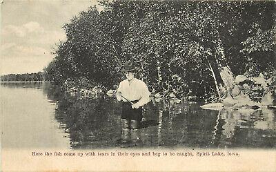 Vintage Postcard Fishing Spirit Lake Iowa Where the Fish Beg To be Caught