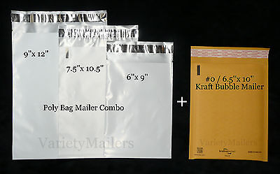 15 Poly Bag 8 Kraft Bubble Postal Envelope Mailer Variety 4 Sizes Self-sealing