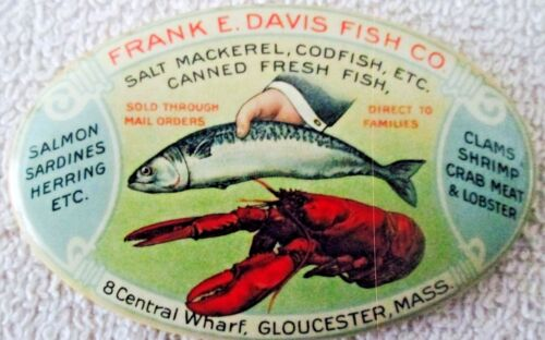 Vintage early celluiod advertising pocket mirror Frank Davis Fish Company