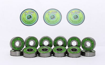 16 x GREEN SLIME ABEC 11 608RS Skate , Inline , Roller Derby Bearings