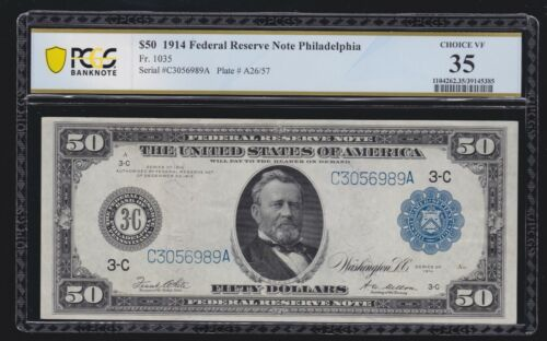 US 1914 $50 FRN Philadelphia FR 1035 PCGS 35 Ch VF (989)