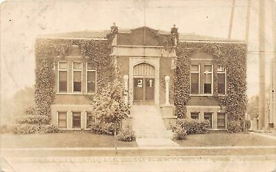 G27/ Spirit Lake Iowa RPPC Postcard 1930 Public Library Building 6