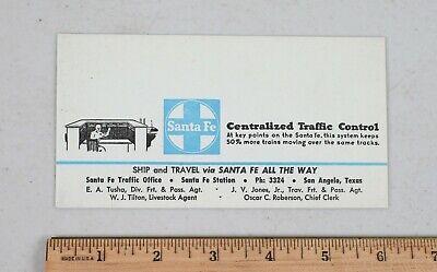 Vintage Advertising Ink Blotter Santa Fe Railway Traffic Control San Angelo TX