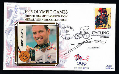 1996 Olympic Games Signed Cover Max Sciandri Cycling Atlanta postmark USA Stamp