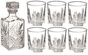 Bormioli Rocco Selecta Glass Whisky Spirit Decanter 1000ml & x6 280ml Glasses