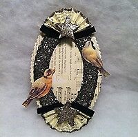 Pottery Barn Victorian Paper Scrap Birds Picture Holder Christmas Tree Ornament