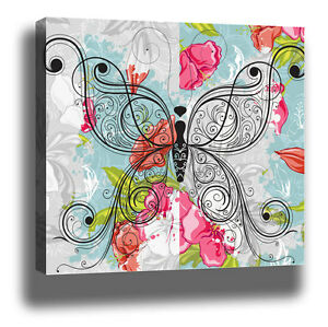 Shabby-Chic-Floral-FRAMED-Wall-Art-CANVAS-PRINT-XL