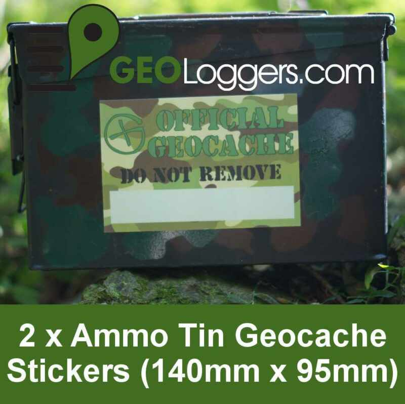 2 x *NEW* GEOLoggers AMMO TIN Geocache Container Camo Stickers Waterproof!