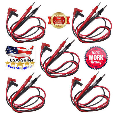 1-5x Pair Universal Probe Wire Cable Test Leads Pin For Digital Multimeter -