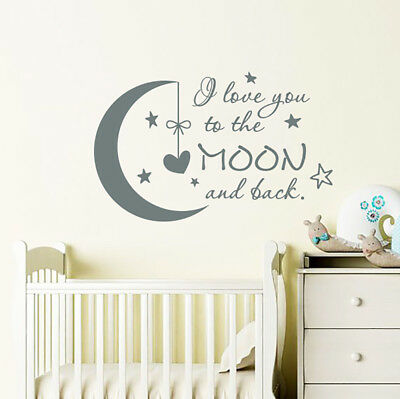 I Love You to the Moon and Back Wall Decal Moon Stars Stickers Nursery Decor F1 - Stars And Moon Decorations