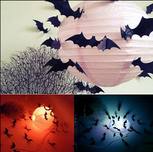 12Pcs Black 3D DIY Bat Wall Sticker Decal Halloween Party Decoration
