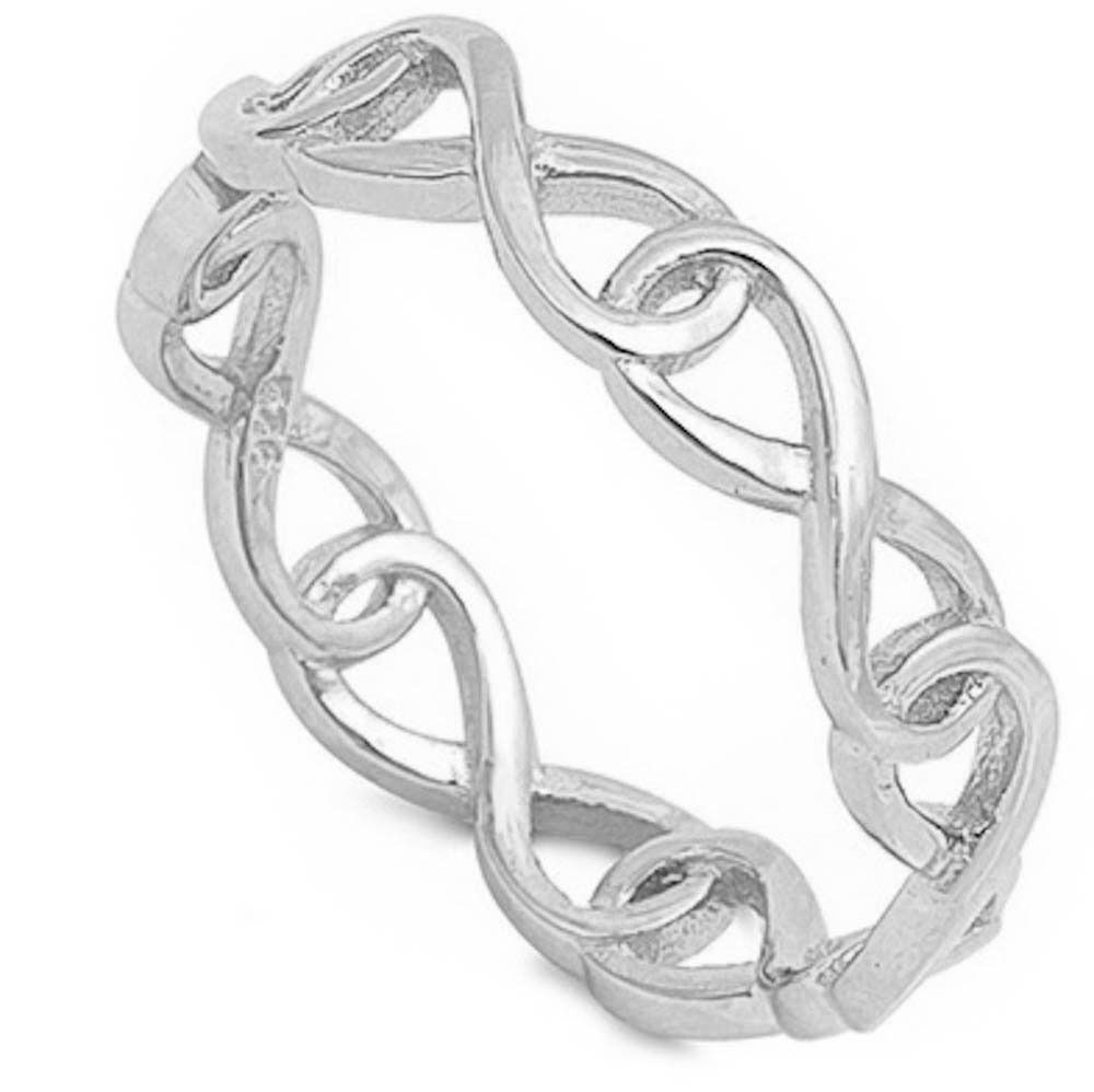 Infinity Chain Band .925 Sterling Silver Ring Sizes 4-10