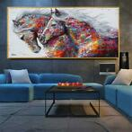 Abstracte Olieverf Grote Size Canvas Paard Poster Prints