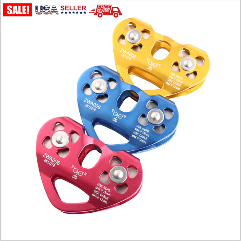 30KN Rock Zip Line Dual Pulley Cable Trolley Fast Speed Heavy Climbing
