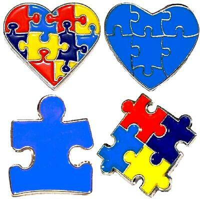 4 Pack Variety Autism Awareness Heart Puzzle Pieces Lapel Hat Pins Gift 7305](Blue Puzzle Piece Lapel Pin)