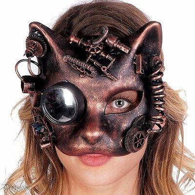 Steampunk Cat Mask Masquerade Halloween Costume Eye Face Gears Goggles