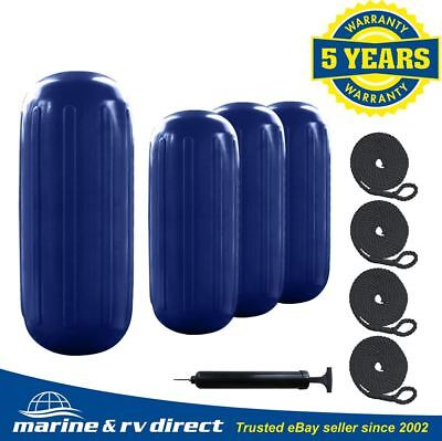 "4 Ribbed Marine 8"" X 20"" HTM Boat Fender Bumper Dock Shield Protection Navy Blue"