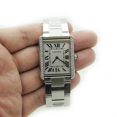 cartier tank solo large 0.8ct diamond mens Unisex Ladies watch W5200014