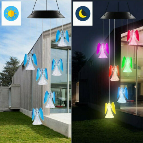 Solar Color Changing LED Angel Wind Chimes Home Garden Yard Decor Light Lamp US Décor