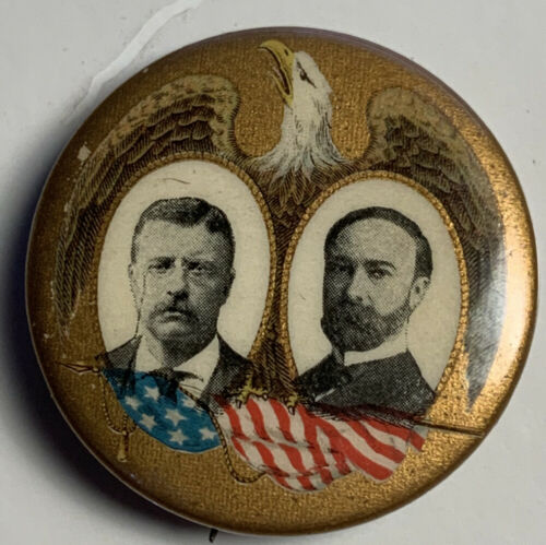 """TEDDY ROOSEVELT & FAIRBANKS JUGATE IN THE 1.25"""" SIZE PINBACK BUTTON"""