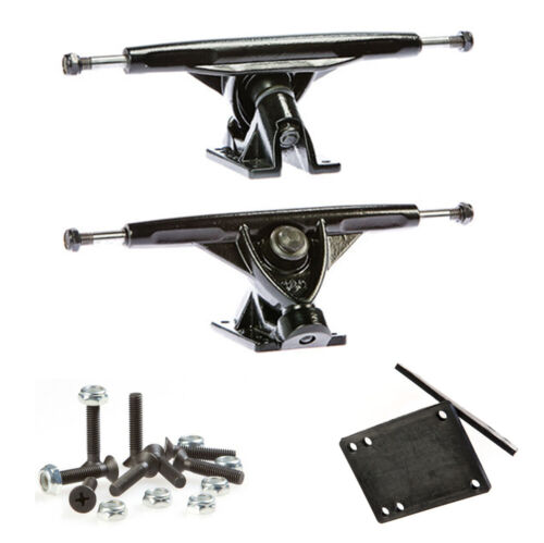 Skateboard Trucks, 150mm, Steel with Risers and Mounting Hardware, 2 trucks