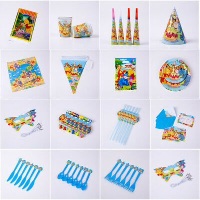 Winnie Pooh Kids Birthday Party Tableware Hats Masks Straws Gift Bag Plates Horn - Party Straw Hats