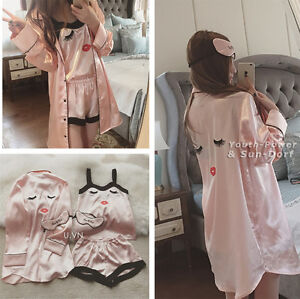 3pcs Pink Silk Satin Nightie Lingerie Sleepwear Pyjamas Set Gown Robe Shorts Top