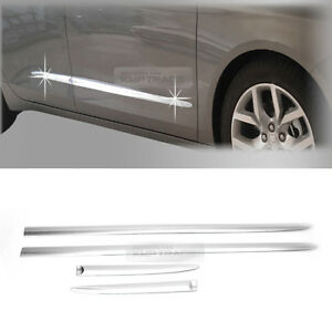 4_Chrome Side Skirt Accent Garnish Molding trim 4P For Chevrolet 15-2018 Impala