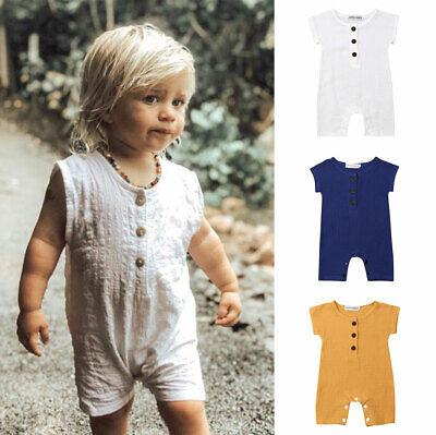 US Toddler Baby Boy Linen Clothes Romper Bodysuit Jumpsuit Summer One-Pieces Top