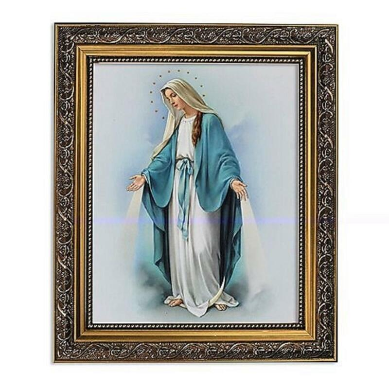 """Our Lady of Grace Mary Picture Art 8"""" x 10"""" Print 11"""" x 13"""" Gold Frame Catholic"""