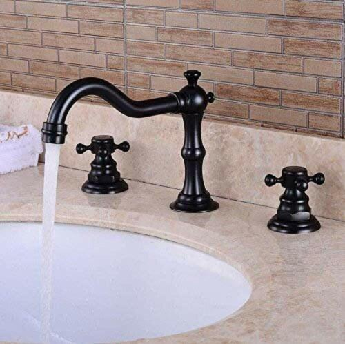 Widespread Bathroom Sink Faucet 3 Holes Two Handles Oil Rubbed Bronze
