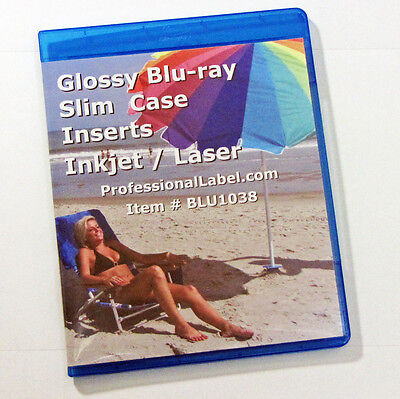 Glossy Blu-ray Slim Case Insert Covers Wraps 25 Sheets Laser Or Inkjets Blu1083