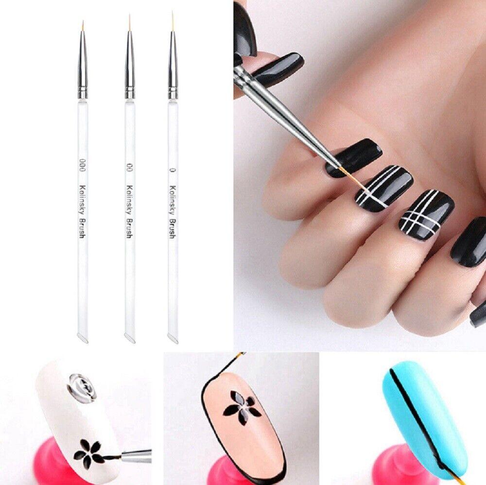 3PCS Nail Art Pen Dotting Painting Drawing UV Gel Liner Polish Brush Tool Set US Health & Beauty