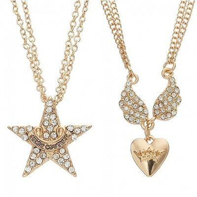 JUICY COUTURE gold tone star or Simulated crystal heart wing Necklace CARDED NEW ()