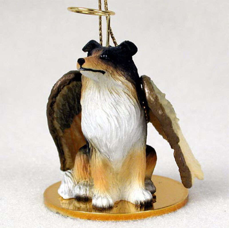 Collie Ornament Angel Figurine Hand Painted Tri Color
