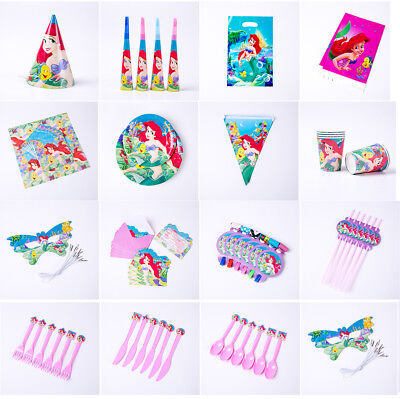 Mermaid Party Ariel Birthday Tableware Hat Mask Straw Invitation Cards Plate Bag - Party Straw Hats