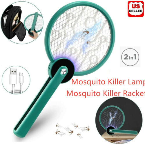 2 In 1 Portable Rechargeable USB Electric Mosquito Swatter Fly Insect Handheld Home & Garden