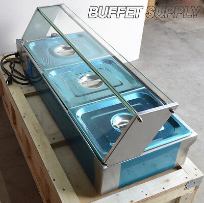 3-pan Bain-marie Food Warmer Steam Table Stainless Steel 1500w 36inch