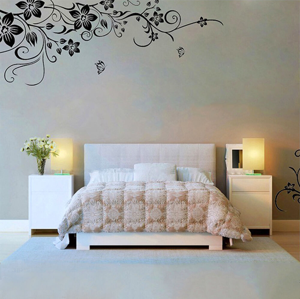 fleur papillon autocollant sticker mural noir muraux d co d coration chambre ebay. Black Bedroom Furniture Sets. Home Design Ideas