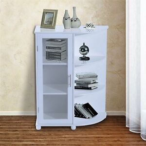 White Glass Display Cabinet Wooden Cupboard Door 6 Shelves Corner Storage Unit