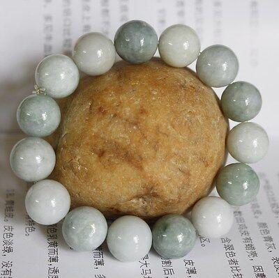100% Natural (Grade A) Untreated Light Green Jadeite JADE Beaded Bracelet 13mm
